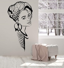 Vinyl Wall Decal Beautiful Girl Face Hairstyle Makeup Beauty Salon Stickers 2LR7