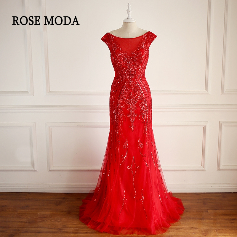 Rose Moda Gorgeous Cap Sleeves Red Mermaid Prom Dresses 2018 Low V Back Crystal Long Prom Dress Real Photos