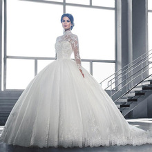 Fnoexw 2019 Elegant Ball Gown Wedding dresses Long Sleeve