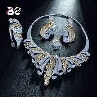 Be 8 Luxury AAA CZ African Jewelry Set for Women Wedding Zircon Crystal CZ Indian African 2 Tones Bridal Jewelry Set S334