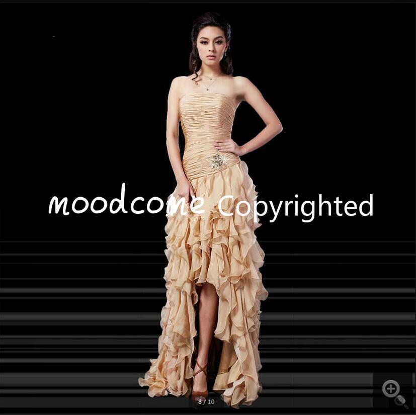 2016 élégant champagne sirène en mousseline de soie robe de bal à volants haute basse formelle perlée robes de bal offre spéciale pas cher robes de bal