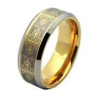 Free Shipping 8mm Unique Handmade Yellow Gold Plated Tungsten Carbide Ring Bevel Edges Laser Engraving Fashion
