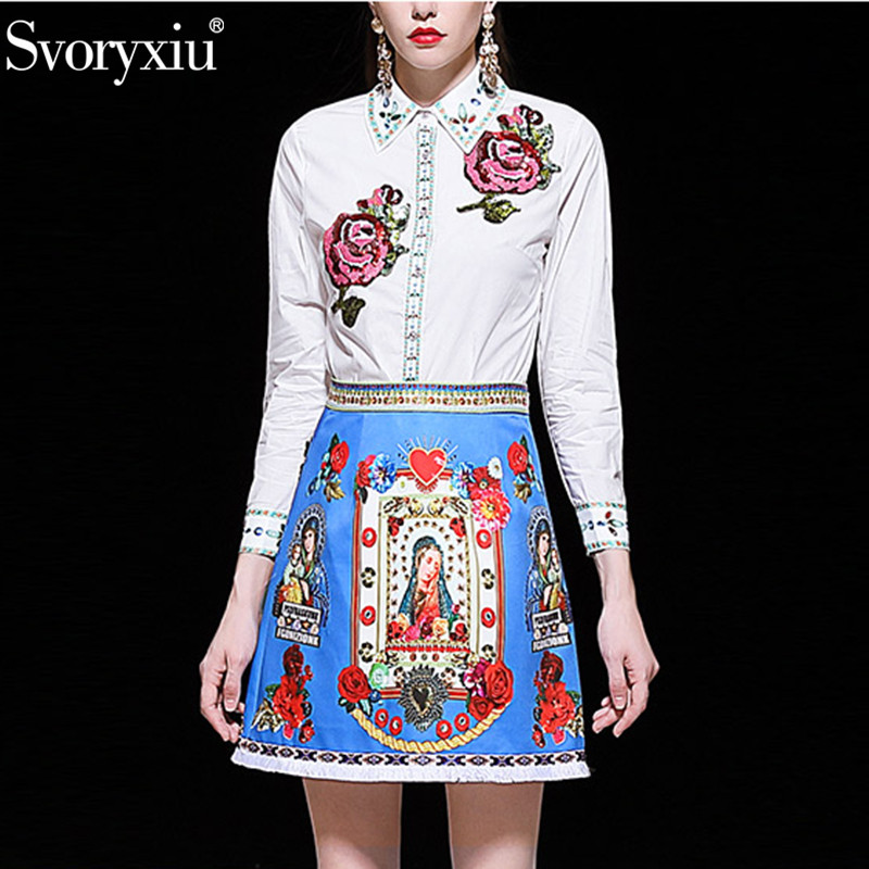 Svoryxiu Fashion Runway Summer Embroidery Skirt Suit Women s Sequined Rose White Blouse Tassel Skirts Printed