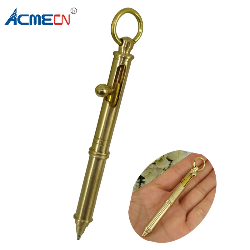 Cool Design Mini Writing Ballpoint Pen Pure Brass Hand-made Gun style retractable Ball Pens with Key ring Cute Small Ball Pen pilot dr grip pure white retractable ball point pen