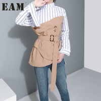 2017 Spring Summer Fashion New Khaki Stripe Shirt Korean Irregular Belt Patchwork Blouse Woman Q304