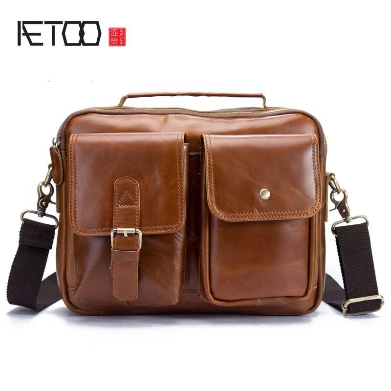 AETOO Factory direct nowy skóry mężczyźni torba mężczyźni torba na ramię torba na ramię nagłówek skóra męska torba na co dzień 208 w Torby z długim paskiem od Bagaże i torby na  Grupa 1