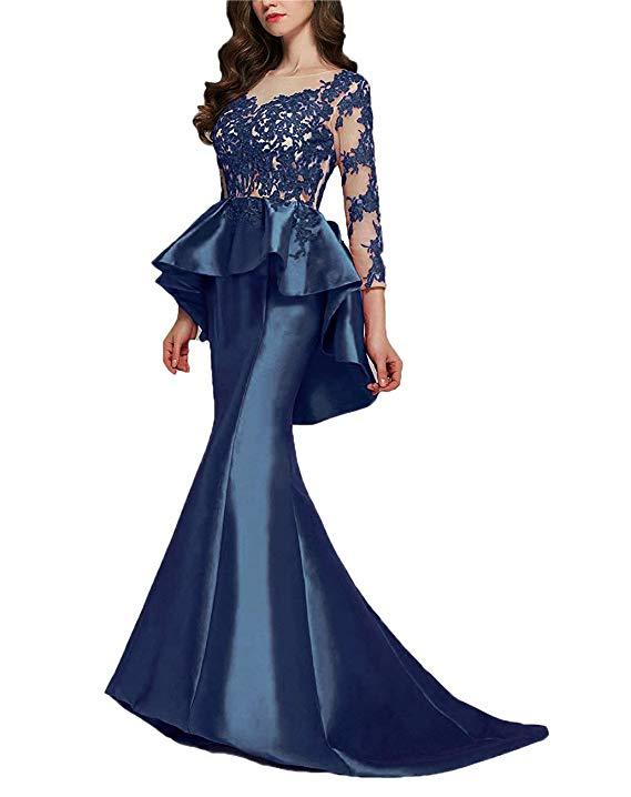 2019 Burgundy Mermaid Prom Dress Beaded Evening Dress Lace With Peplum Vestido De Festa Longo