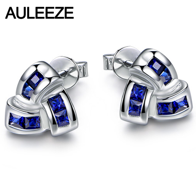 Natural Sapphire Earrings 1.32cttw Real Sapphire 18K White Gold Windmill Shape Earrings For Women Fine Jewelry Valentine Gifts