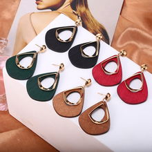 HOCOLE Fashion Wooden Drop Earrings For Women Vintage ZA Pendant Dangle Earring Statement 2019 Brincos Party Jewelry Girls Gift