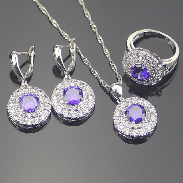 Moda Amethyst Púrpura Blanco Creado Topaz 925 Plata de La Joyería Para Las Mujeres Pendientes/Colgante/Collar/Anillo Caja libre