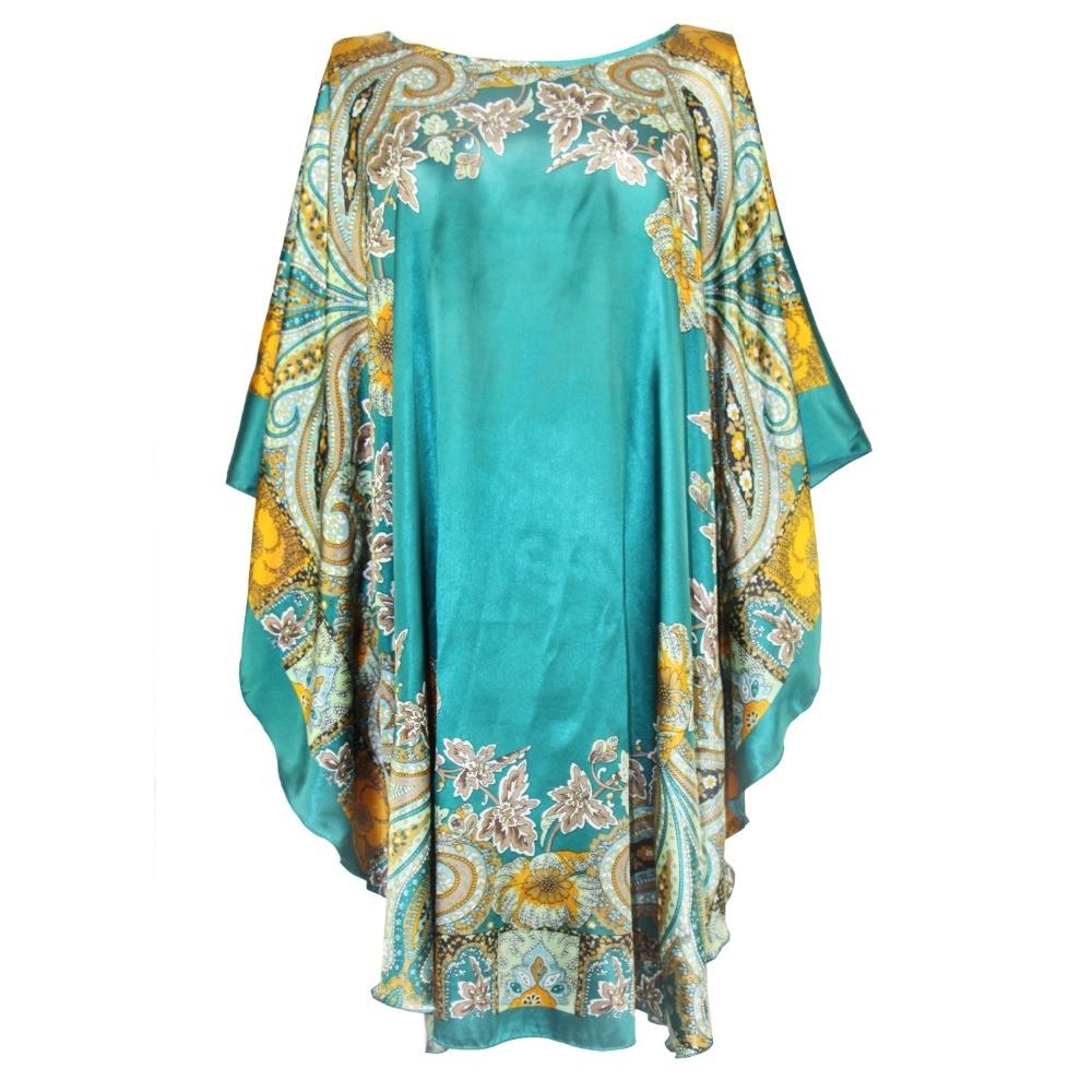 Hot Sale Lady Rayon Robe Bathrobe Women Sleepwear Nightgown Large Size Home Dress Vintage Kaftan Gown Nightshirt Nightshirt