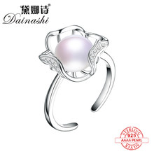 Dainashi new product 925 silver natural fresh water pearl rings the size is resizable suit party/wedding/prom look like flowers(China)