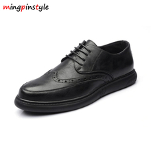 MINGPINSTYLE British Style Soft Leather Men Bullock Shoes Fashion Carving Casual Business All Match Platform Oxford Shoes for Me