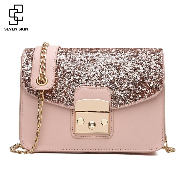 SEVEN SKIN Women Sequined Messenger Bag Fashion Women s Leather Small Flap  Bag Chain Strap Female Shoulder 238a6b8472b2e