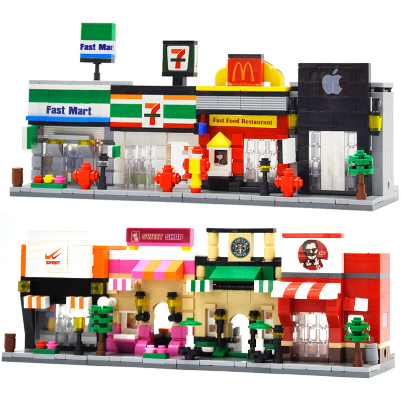 HSANHE Mini Scene Blocks Fast Food Shop Retail Store Architectures City Street Educational Building Block Sets Model Bricks Toys loz diamond block street mini nano building blocks toys for children shop model mobile phone shop mini city bricks building 9036