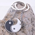 China yin yang enamel couple keychain quality key rings holder high polish ending
