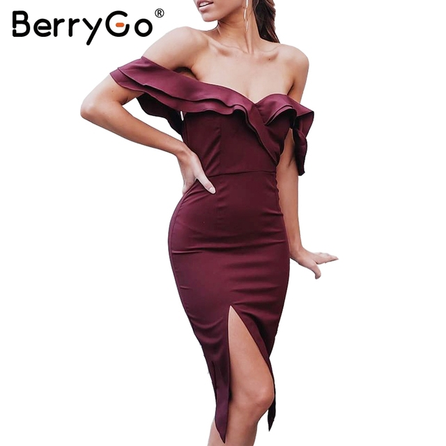 BerryGo Sexy off shoulder ruffle bodycon dress women Split high waist  elegant wine red party dresses Autumn christmas dress robe 88307d67e