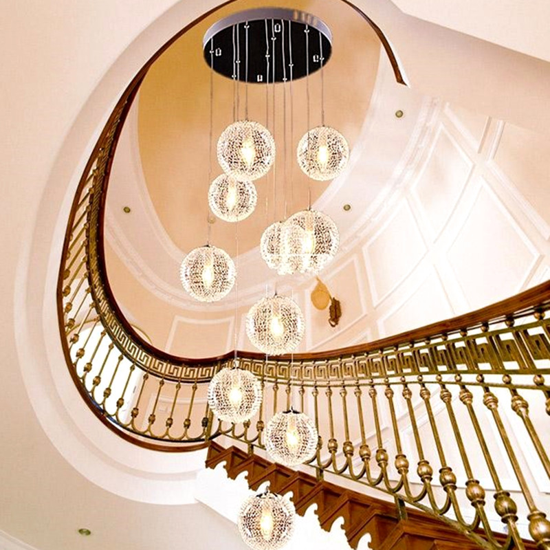 High-end European-style Pendant Lights  10 Lights lustres de teto Glass Large Long Stair E14 Round Ball  Recommend hot selling perforated lustres de teto european luxury double helix stair pendant lights 100% crystal guarantee