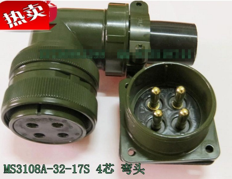 Original new 100% 5015 MS3108A32-17S MS3102A32-17P 4 American Standard aviationplug bent core waterproof connector military standard connector 5015 connector 4pins ms3106 3102 32s 17p servo motor connector