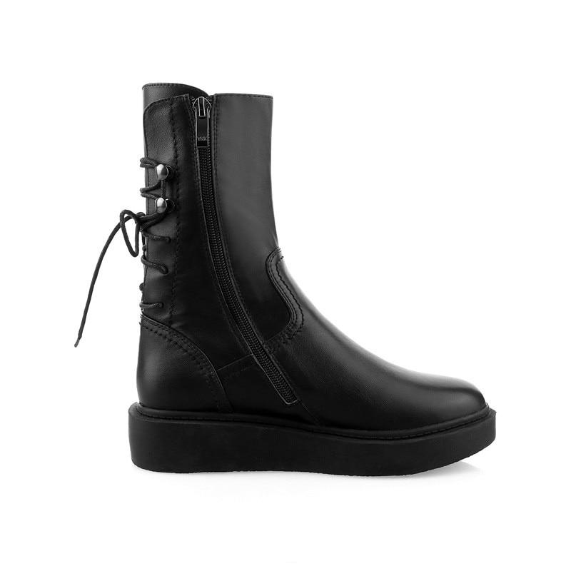 Ankle Hiver Mid Boots Avec Automne Véritable Cheville black Femmes Dames Mode Bout Bottes Plat Rond Black Cuir Croix Smirnova Liée Zip Calf En E1pUqW