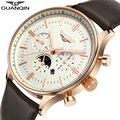 Guanqin mens watches top brand luxury GUANQIN New Fashion Men's Moon phas Quartz Watch Male Wristwatch guanqin relogio masculino