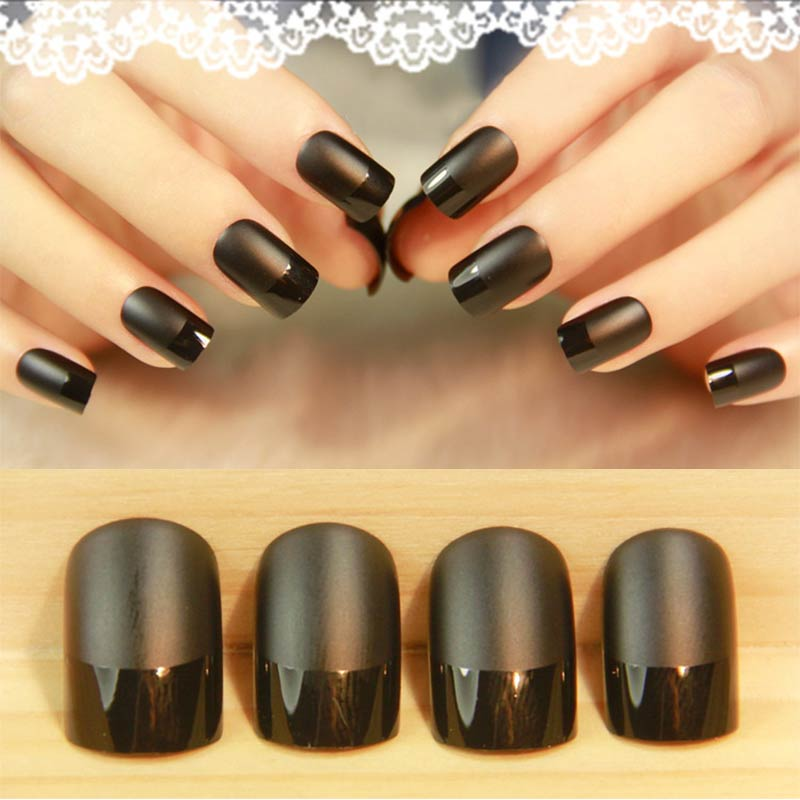 New 24pcs Fake Nails Acrylic Faux Ongles Decoration for Lady Makeup Full Nails Tips Art DIY Beauty Manicure -43
