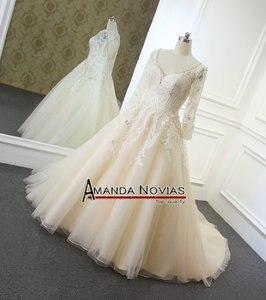 Image 2 - Vestidos de noiva 샴페인 컬러 a 라인 웨딩 드레스 백 홀 2019