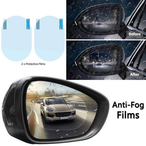 2PC Car Rearview Mirror Protective Film Mirror Stickers Anti Fog Rain Clear Protective Film Waterproof For Universal Cars