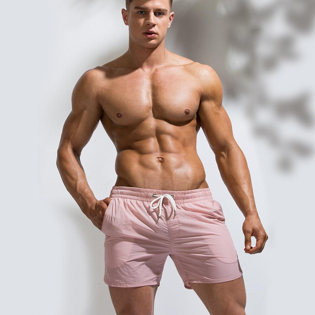 New Solid Casual Sports Shorts Men Beach Pants Board Shorts Ropa De Playa Hombre Men Swim Shorts Beach Summer Swimming Sbort