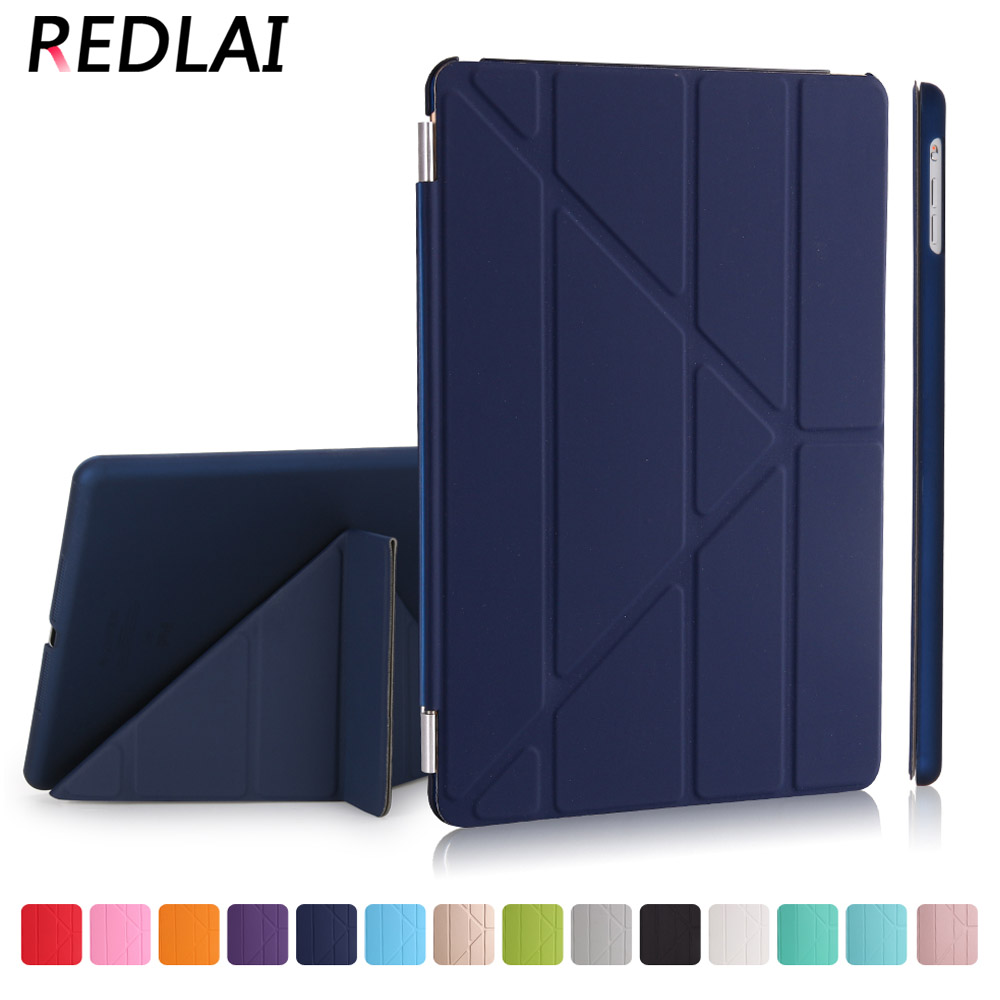 Redlai Ultra thin Magnetic Smart cover Front PU Leather with PC Matte Hard Back skin case for iPad 9.7 2017 A1822 & 9.7 2018 surehin nice smart leather case for apple ipad pro 12 9 cover case sleeve fit 1 2g 2015 2017 year thin magnetic transparent back