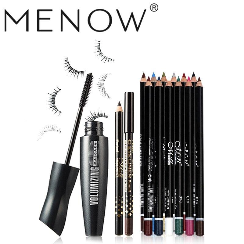 MENOW Make up set  Mascara +Two Eyeliner pencil & 12 Colors Eyeliner Waterproof Lasting Eyes Cosmetics Kit wholesale 5409