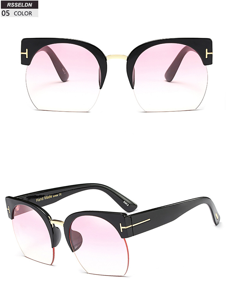 HTB1Jw0CSpXXXXb6apXXq6xXFXXXG - RSSELDN Newest Semi-Rimless Sunglasses Women Brand Designer Clear Lens Sun Glasses For Women Fashion Sunglass Vintage oculos