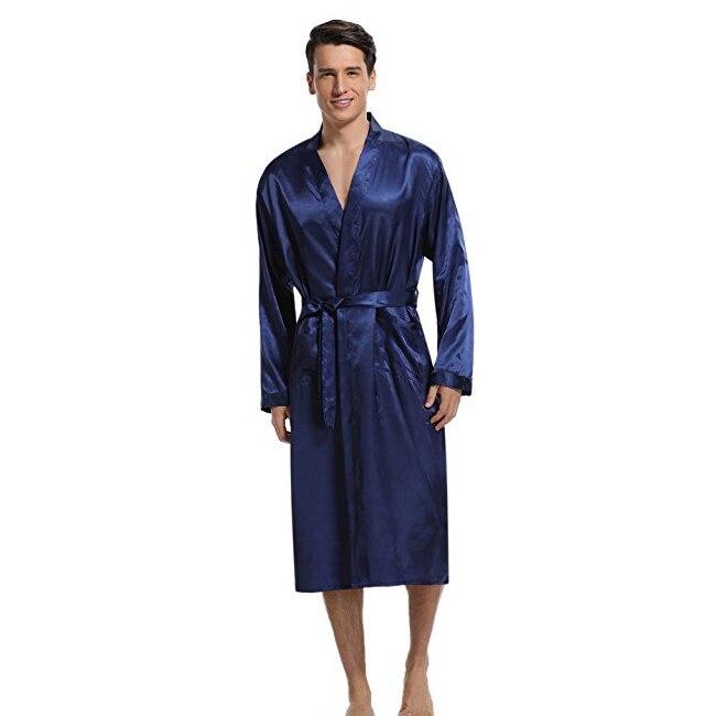 Marineblau Männer Kimono Nachtwäsche Satin Robe Pyjamas Room Home Kleidung Bademantel Langarm Satin Weiche Seidige Nachtwäsche Kleid