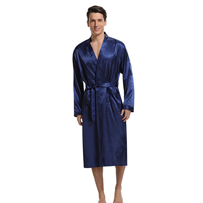 Navy Blue Men Kimono Nightwear Satin Robe Pyjamas Room Home Clothes Bathrobe Long Sleeve Satin Soft Silky Sleepwear Gown