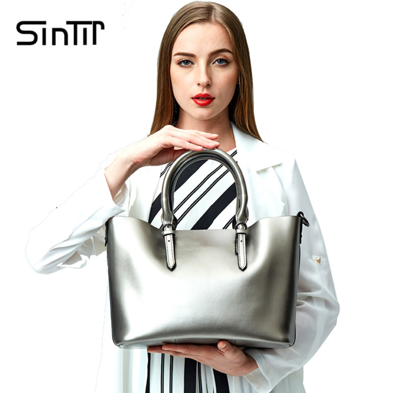 SINTIR Luxury Brand Genuine Leather Ladies Handbags Women Real Cow Leather Shoulder Bags Tote Messenger Bags High Quality Bag chispaulo women genuine leather handbags cowhide patent famous brands designer handbags high quality tote bag bolsa tassel c165