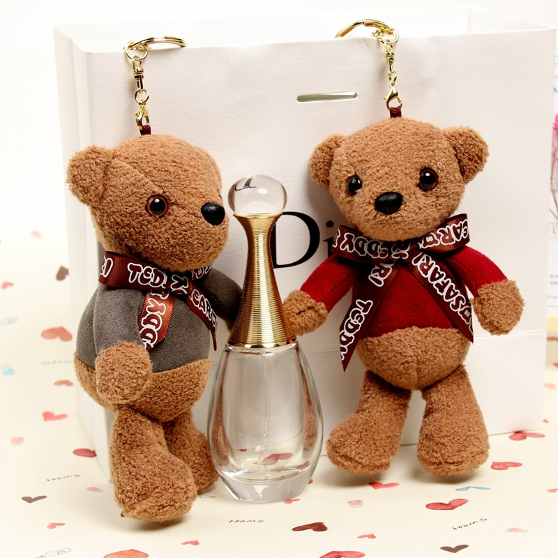 Fashion Teddy Bear Plush Doll Key Chains Ring Woman Keychain Bag Charms Faux Fur Pompom  ...