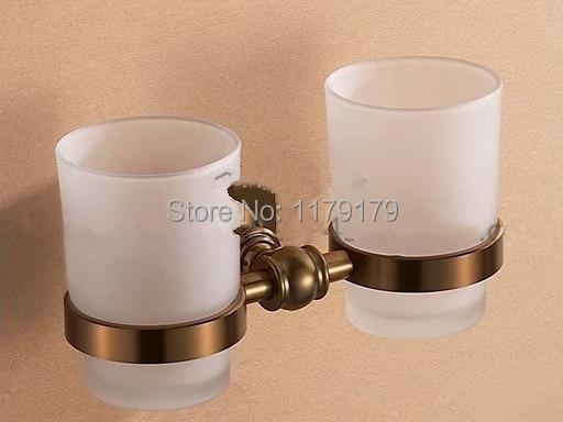 ФОТО free shipping Europen Aluminium alloy Brush   Antique Brass    bathroom cup , double  toothbrush holder   TC2121