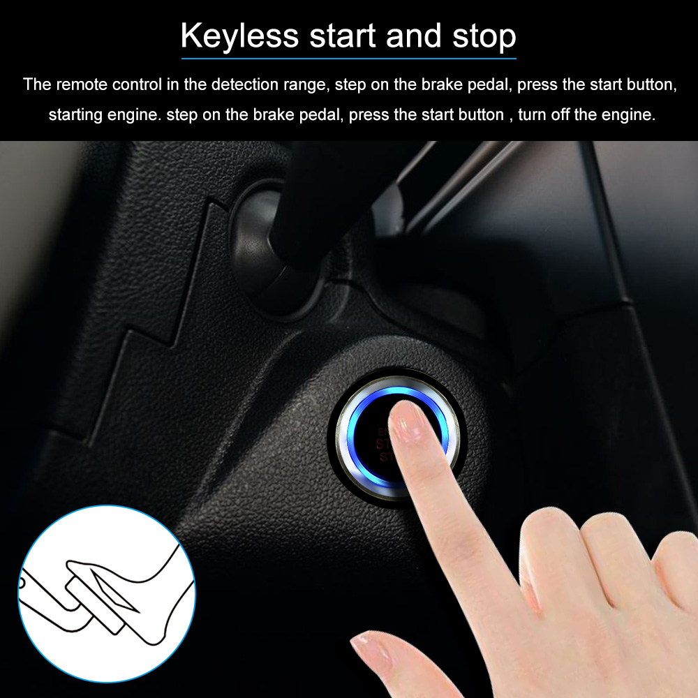 Universal Auto Car Alarm Engine Start Stop Button Remote Open Wiring Diagram Wire Hareness X2 Push X1 Led Siren Shock Sensor English User Manual And