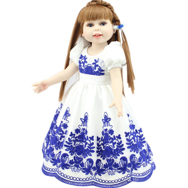 American Girl Doll Reborn Princess Doll Bebe Reborn 18 Inch/45 cm, Soft Plastic Baby Doll Plaything Toys for Kids Juguetes Gift multi colors 18 inch american girl doll fair skin princess doll cute soft plastic reborn dolls babies girl dolls for kid s gift