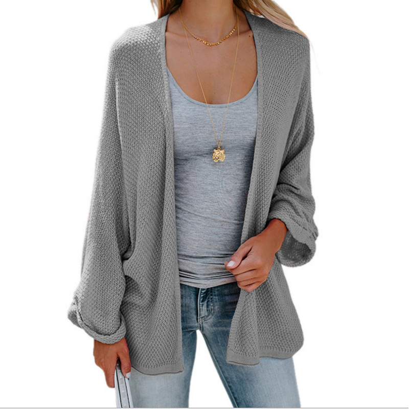 Fashion Women Cardigans Female Oversized Hollow Out Batwing Sleeve Casual Sweater Lady Knitted Loose Solid Sweater