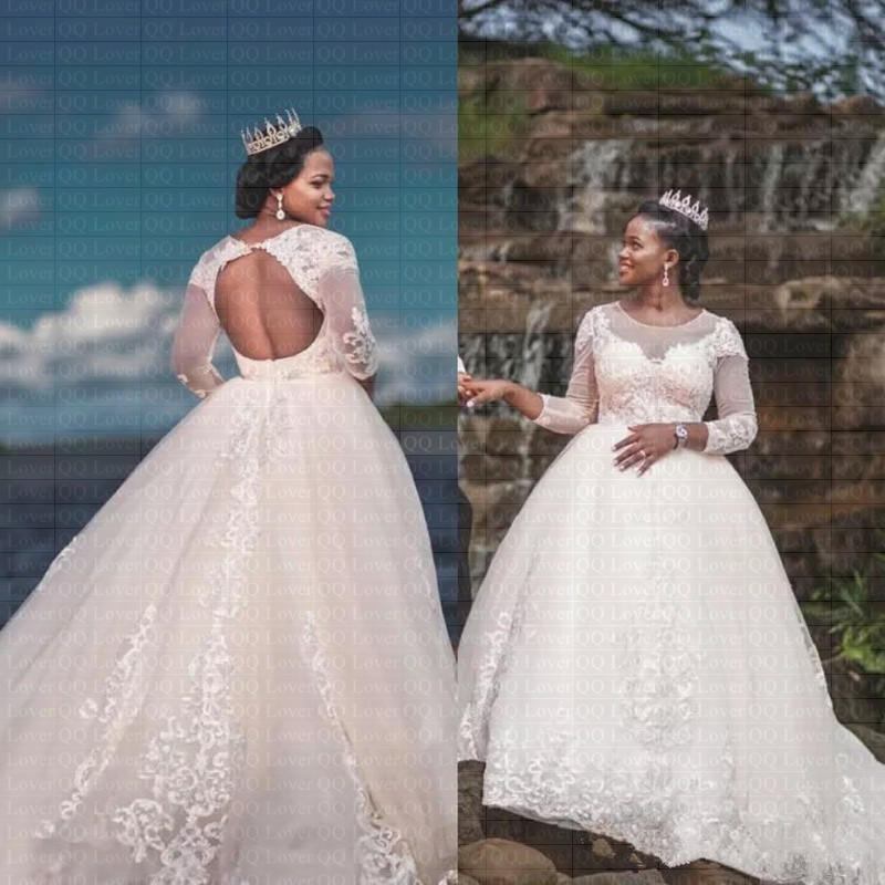 2019 New African Backless Wedding Dresses 3/4 Long Sleeve Lace Bridal Gowns