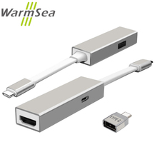 WarmSea USB 3.1 Type C to HDMI Adapter + USB-C OTG connector Type-C HUB Support 4K*2K for Macbook pro 12inch Chromebook Pixel
