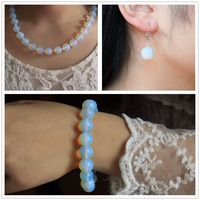 New Arrival 3 PCS Natural Stone 12 Mm Opal Beads Jewelry Sets Necklace Bracelet Earring For