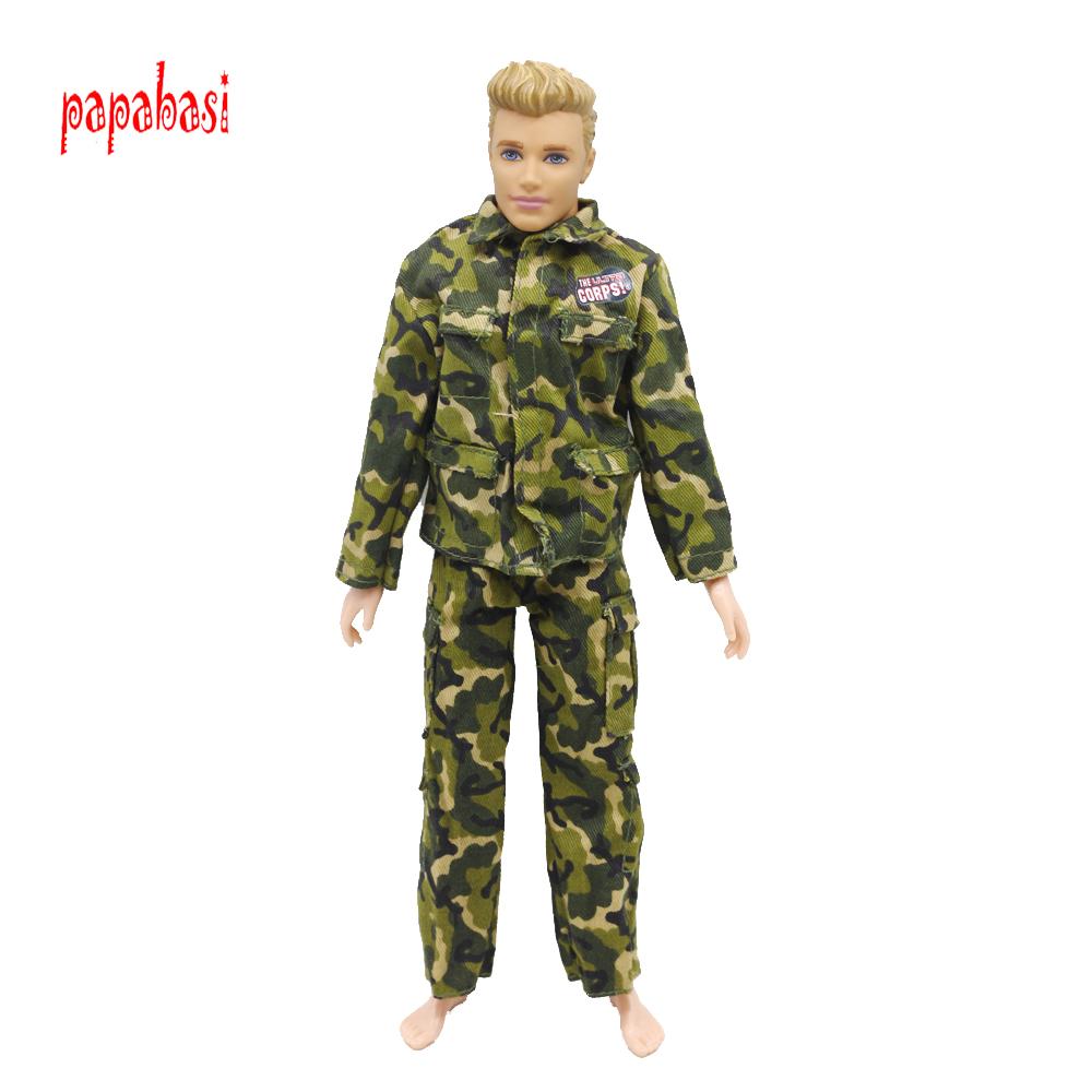1PCS Doll Prince Clothes Army Combat Uniform Outfit For