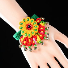 Ethnic style jewelry fabric crafts bracelets handmade cloth bells