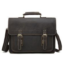 Luxury Men's Briefcase Genuine cowhide Leather Men Bag Business Leather Briefcase Men fashion retro Laptop Bag Men Shoulder Bags