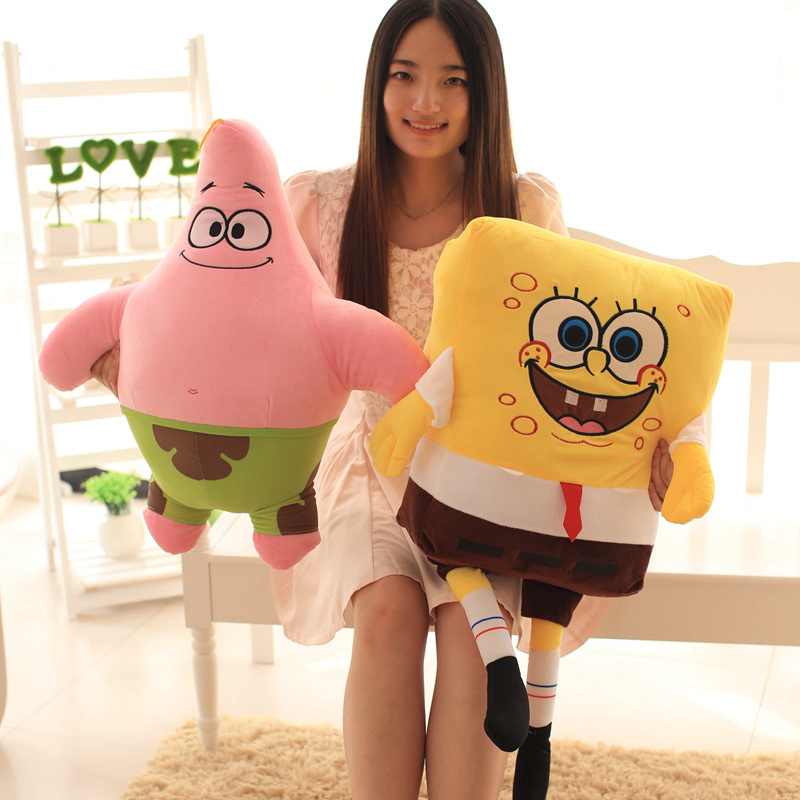 80cm/100cm Big Cartoon Spongebob Patrick Star Plush Toys Stuffed Toys Soft Plush Animals Pillow Baby Doll Kids Toys Girls Gifts plush ocean creatures plush penguin doll cute stuffed sea simulative toys for soft baby kids birthdays gifts 32cm