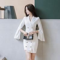 Women Oversized Pleated Plaid Dress Autumn Elegant Checkered Flare Sleeve Slim Casual Sweet Dresses Vestidos Mini