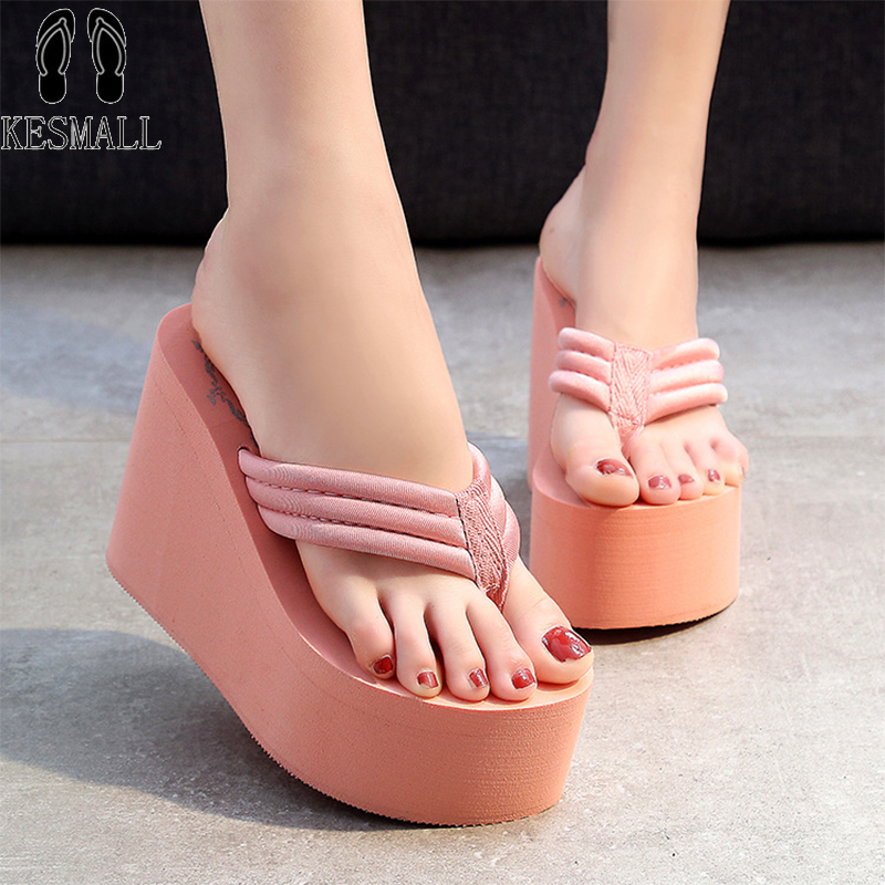 KESMALL Hot Sale Soild Wedge Platform Flip Flops Woman Shoes 2017 Women Summer Shoes High Heels Beach Sandals Ladies High WS94 women beach flip flops soild wedge platform shoes summer slippers women shoe high heels beach sandals ladies thick high pantufas