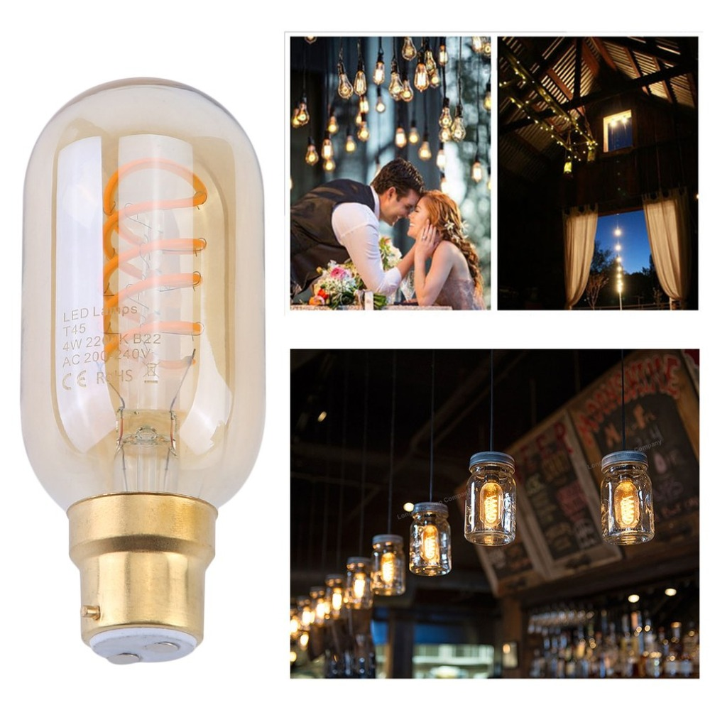 (Ship From DE)3pcs/set Vintage T45 LED Soft Filament B22 240V 4W Amber Glass 2200K Light Bulb Replacement Decoration Lamp Bulb